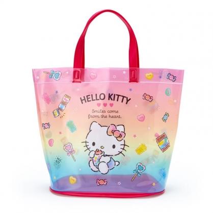 小禮堂 Hello Kitty 透明海灘袋 水桶提袋 游泳袋 泳具袋 防水袋 (紅 2021炎夏企劃)