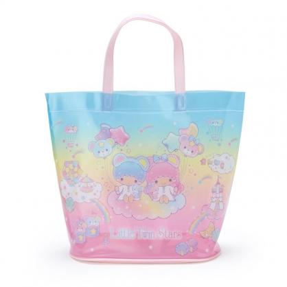 小禮堂 雙子星 透明海灘袋 水桶提袋 游泳袋 泳具袋 防水袋 (藍 2021炎夏企劃)