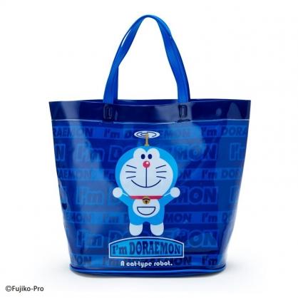 小禮堂 哆啦A夢 透明海灘袋 水桶提袋 游泳袋 泳具袋 防水袋 (深藍 2021炎夏企劃)