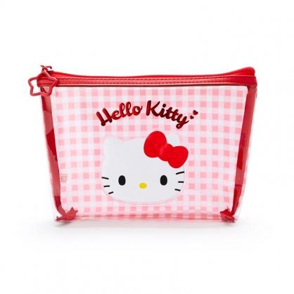 小禮堂 Hello Kitty 船形防水化妝包 格紋化妝包 透明化妝包 盥洗包 (紅 大臉)