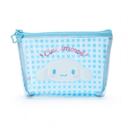 小禮堂 大耳狗 船形防水化妝包 格紋化妝包 透明化妝包 盥洗包 (藍 大臉)