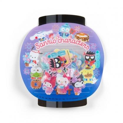 小禮堂 Sanrio大集合 日製 燈籠造型和紙貼紙 和風貼紙 手帳貼紙 貼紙包 (紫)