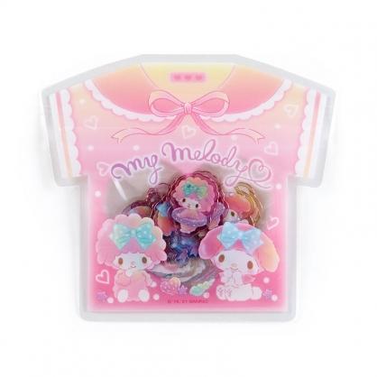 小禮堂 美樂蒂 衣服造型透明貼紙 卡片貼紙 手帳貼紙 貼紙包 (粉)