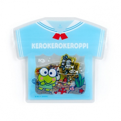 小禮堂 大眼蛙 衣服造型透明貼紙 卡片貼紙 手帳貼紙 貼紙包 (藍)