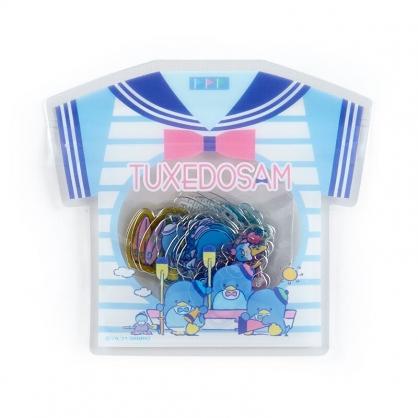 小禮堂 山姆企鵝 衣服造型透明貼紙 卡片貼紙 手帳貼紙 貼紙包 (藍)