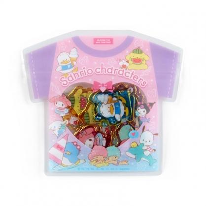 小禮堂 Sanrio大集合 衣服造型透明貼紙 卡片貼紙 手帳貼紙 貼紙包 (粉)
