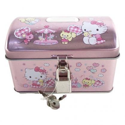 小禮堂 Hello Kitty 方形鐵存錢筒 附鎖 金屬撲滿 儲金筒 收納鐵盒 (粉 遊樂園)