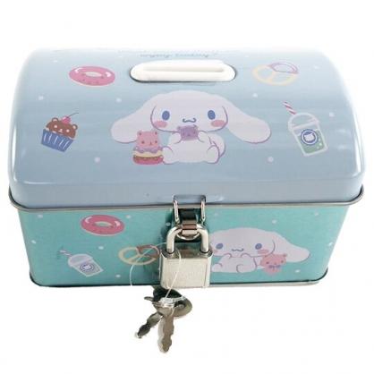 小禮堂 大耳狗 方形鐵存錢筒 附鎖 金屬撲滿 儲金筒 收納鐵盒 (藍 甜點)