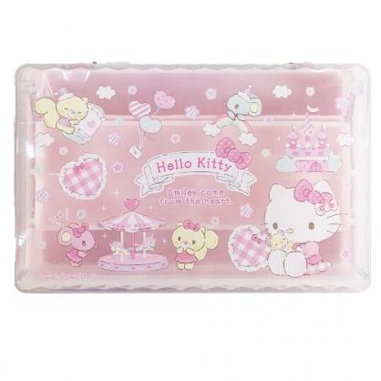 小禮堂 Hello Kitty 方形塑膠掀蓋三層收納盒 透明收納盒 飾品盒 文具盒 (粉 遊樂園)