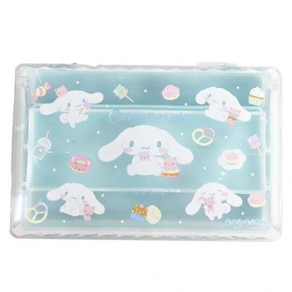 小禮堂 大耳狗 方形塑膠掀蓋三層收納盒 透明收納盒 飾品盒 文具盒 (藍 甜點)