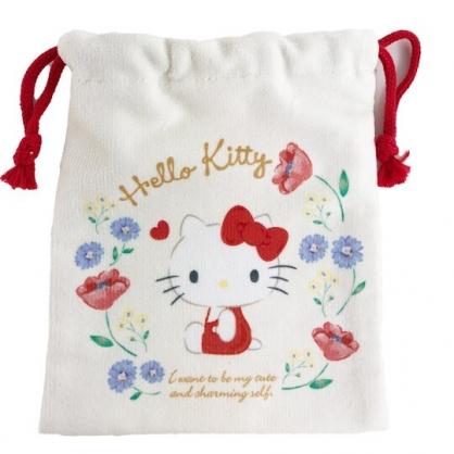 小禮堂 Hello Kitty 毛巾布束口袋 旅行收納袋 文具袋 小物袋 縮口袋 (米 花圈)