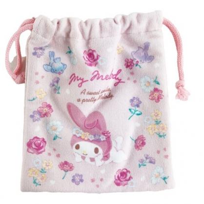 小禮堂 美樂蒂 毛巾布束口袋 旅行收納袋 文具袋 小物袋 縮口袋 (粉 花圈)