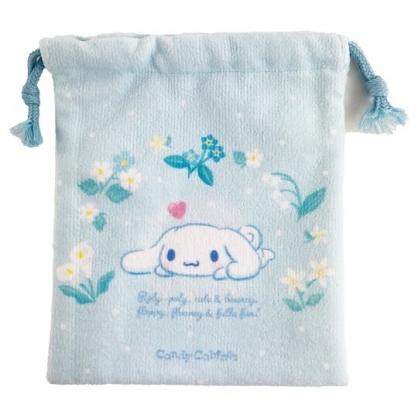 小禮堂 大耳狗 毛巾布束口袋 旅行收納袋 文具袋 小物袋 縮口袋 (藍 花圈)