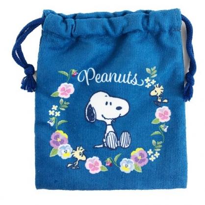 小禮堂 史努比 毛巾布束口袋 旅行收納袋 文具袋 小物袋 縮口袋 (深藍 花圈)