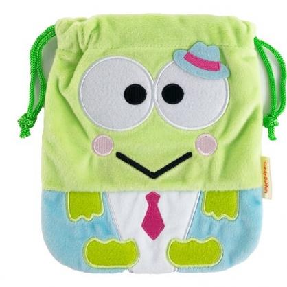 小禮堂 大眼蛙 絨毛束口袋 旅行收納袋 文具袋 小物袋 縮口袋 (綠 俏皮偵探)
