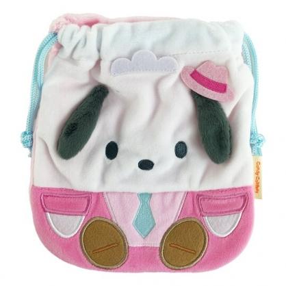 小禮堂 帕恰狗 絨毛束口袋 旅行收納袋 文具袋 小物袋 縮口袋 (粉 俏皮偵探)