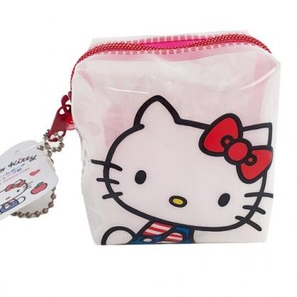小禮堂 Hello Kitty 方形防水零錢包 果凍零錢包 掛飾零錢包 耳機包 銅板小物 (白 大臉)