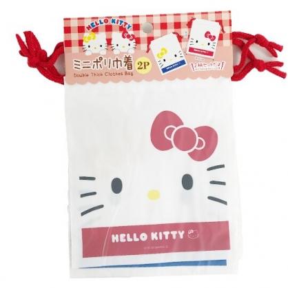 小禮堂 Hello Kitty 防水束口袋組 旅行收納袋 文具袋 小物袋 縮口袋 銅板小物 (2入 白)