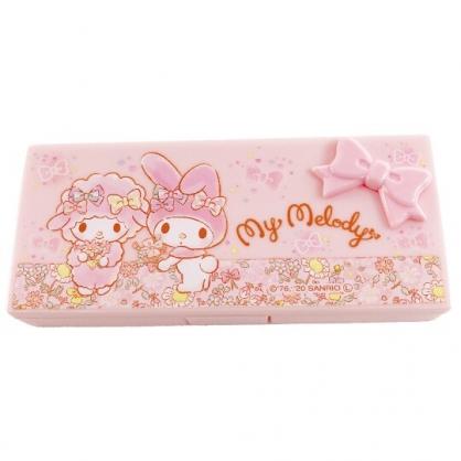 小禮堂 美樂蒂 方形隨身棉花棒盒 隨身藥盒 OK蹦盒 收納盒 銅板小物 (粉 花朵)