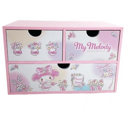 小禮堂 美樂蒂 橫式木質三抽收納櫃 桌上型收納櫃 抽屜櫃 小木櫃 (粉 澆花)
