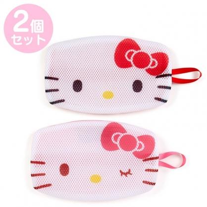 小禮堂 Hello Kitty 扁平型手提洗衣網袋組 口罩網袋 護洗袋 洗口罩 (2入 紅 大臉)