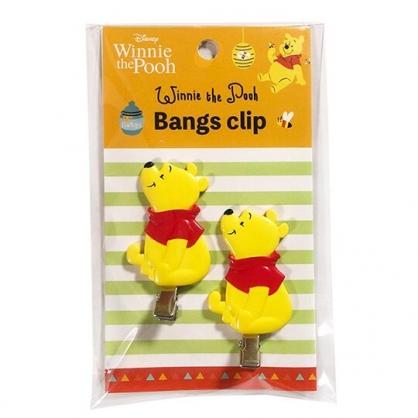 小禮堂 迪士尼 小熊維尼 造型塑膠鐵髮夾 玩偶髮夾 瀏海夾 小髮夾 (2入 黃 側坐)