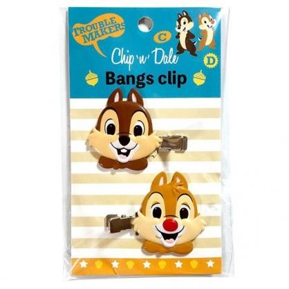 小禮堂 迪士尼 奇奇蒂蒂 造型塑膠鐵髮夾 玩偶髮夾 瀏海夾 小髮夾 (2入 棕 大臉)