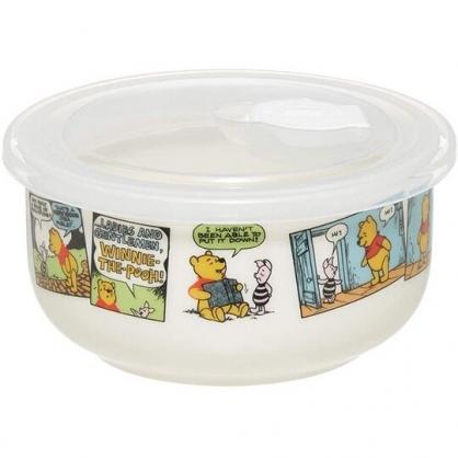 小禮堂 迪士尼 小熊維尼 陶瓷微波保鮮碗 附蓋 陶瓷保鮮盒 便當盒 沙拉碗 380ml (白 漫畫)