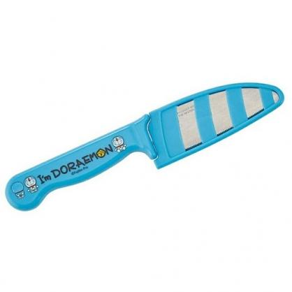 小禮堂 哆啦A夢 安全菜刀 附蓋 不鏽鋼菜刀 水果刀 安全刀 親子廚具 (藍 文字)