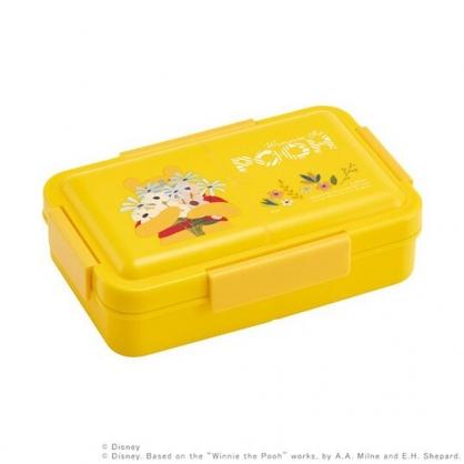 小禮堂 迪士尼 小熊維尼 日製 方形微波便當盒 抗菌便當盒 四扣便當盒 保鮮盒 850ml Ag+ (黃 花束)