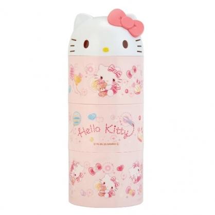 小禮堂 Hello Kitty 日製 造型蓋三層微波便當盒 圓形便當盒 塑膠便當盒 保鮮盒 (粉 大臉)