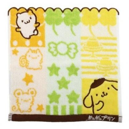 小禮堂 布丁狗 造型純棉無捻紗方巾 純棉手帕 小毛巾 丸真毛巾 25x25cm (黃 圖紋)