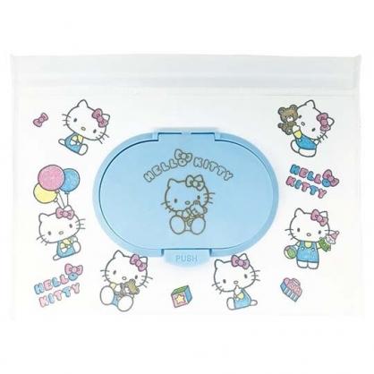 小禮堂 Hello Kitty 防水濕紙巾包夾鏈袋 抽取式收納袋 濕巾包 面紙包 (M 白)