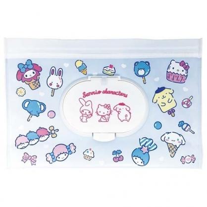 小禮堂 Sanrio大集合 防水濕紙巾包夾鏈袋 抽取式收納袋 濕巾包 面紙包 (L 藍)