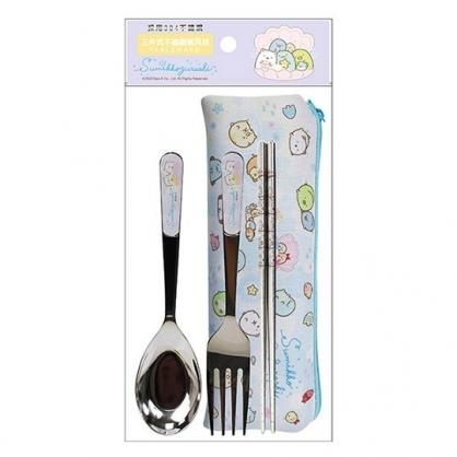 小禮堂 角落生物 三件式不鏽鋼餐具 附餐具袋 叉匙筷 兒童餐具 環保餐具 (藍 貝殼)