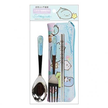 小禮堂 角落生物 三件式不鏽鋼餐具 附餐具袋 叉匙筷 兒童餐具 環保餐具 (藍 游泳)
