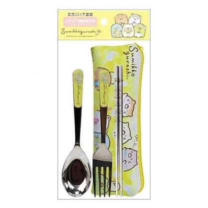 小禮堂 角落生物 三件式不鏽鋼餐具 附餐具袋 叉匙筷 兒童餐具 環保餐具 (黃 花圈)
