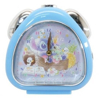 小禮堂 迪士尼 史迪奇 連續秒針三角形鬧鐘 指針鬧鐘 桌鐘 時鐘 (藍 木床)