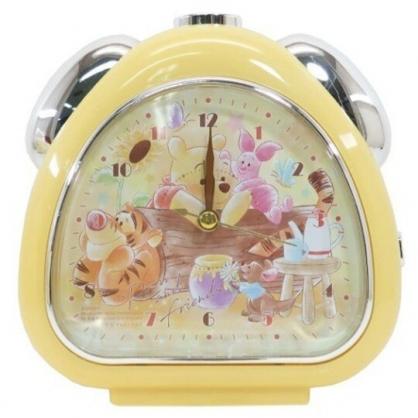 小禮堂 迪士尼 小熊維尼 連續秒針三角形鬧鐘 指針鬧鐘 桌鐘 時鐘 (黃 木頭)