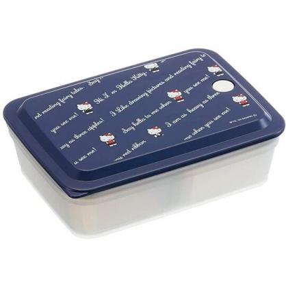 小禮堂 Hello Ktity 方形微波保鮮盒 抗菌保鮮盒 便當盒 850ml Ag+ (深藍 文字)