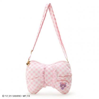 小禮堂 Hello Kitty 造型棉質斜背包 拉鍊斜背包 兒童斜背包 隨身背包 (紫色格紋)