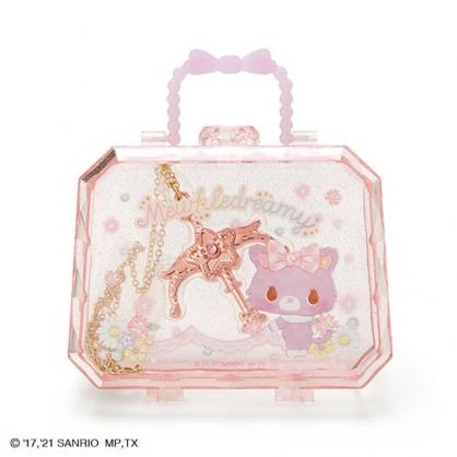 小禮堂 甜夢貓 造型合金長項鍊 附手提盒 手杖項鍊 金鍊 頸鍊 鍊墜 (紫色格紋)