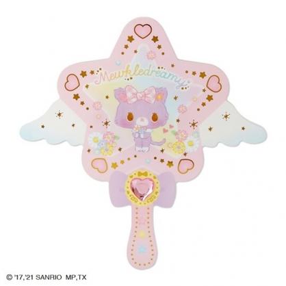 小禮堂 甜夢貓 造型壓克力手拿鏡 手杖手拿鏡 手持鏡 美妝鏡 隨身鏡 (紫色格紋)