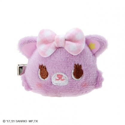 小禮堂 甜夢貓 造型絨毛鐵髮夾 玩偶髮夾 瀏海夾 小髮夾 (紫色格紋)