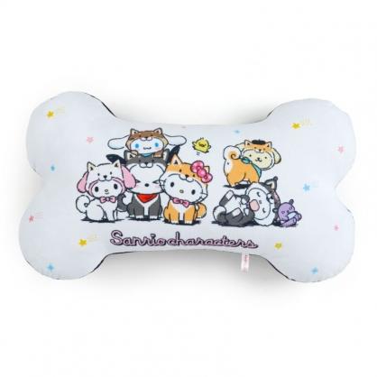 小禮堂 Sanrio大集合 造型絨毛抱枕 狗骨頭抱枕 絨毛靠枕 午睡枕 靠墊 (白 調皮柴犬)