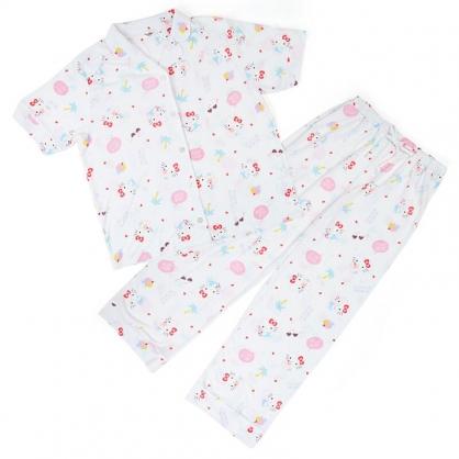 小禮堂 Hello Kitty 襯衫式短袖長褲居家服 襯衫居家服 睡衣睡褲 (白 2021炎夏企劃)