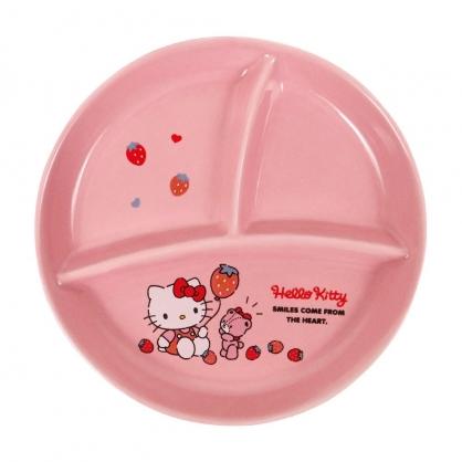 小禮堂 Hello Kitty 圓形三格陶瓷餐盤 分隔餐盤 微波餐盤 午餐盤 強化瓷 (粉 草莓)