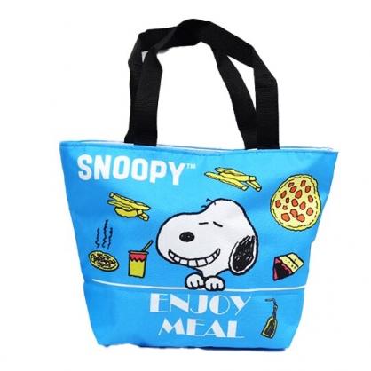 小禮堂 史努比 船形尼龍便當袋 午餐袋 野餐袋 手提袋 (藍 比薩)