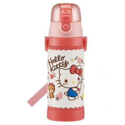 小禮堂 Hello Kitty 彈蓋不鏽鋼保溫瓶 附背帶 不鏽鋼水瓶 隨身瓶 3D圖案 480ml (粉 愛心)