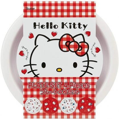 小禮堂 Hello Kitty 日製 美耐皿圓盤組 露營餐盤 兒童餐盤 沙拉盤 點心盤 (4入 白 愛心)